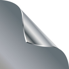 Folded edge of the sheet. Vector. Silver.
