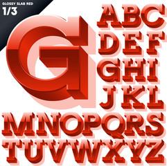Vector alphabet of simple 3d glossy letters. Slab. Red