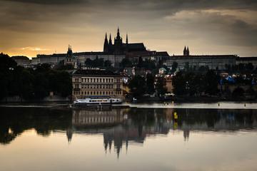 Vltava river and a Prague Castle Czech Republic .