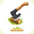 Camping symbol axe