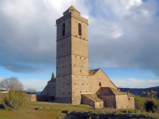 Tower church Guaso village in Huesca Pyrenees Aragon Spain
