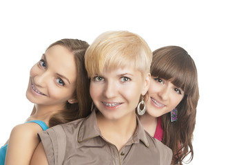 Portrait of Three Young and Positive Caucasian Girls Teeth Brace