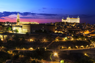 Toledo cityscape at sunset. Toledo, Spain.