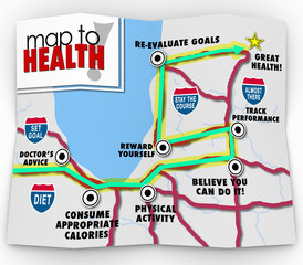 Map to Health Words Leading You to Diet Exercise Plan Goal