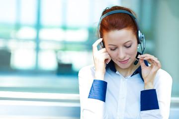 Customer service representative listening to client problem