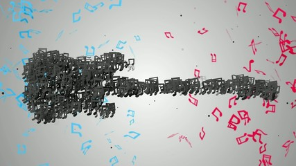 Black Electric Guitar Musical Note Particles Loop Animation