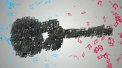 Black Guitar Musical Note Particles Loop Animation