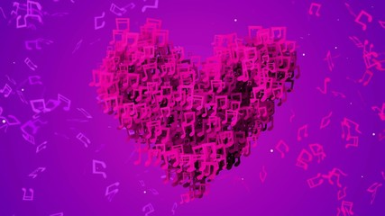 Purple Love Musical Note Particles Loop Animation