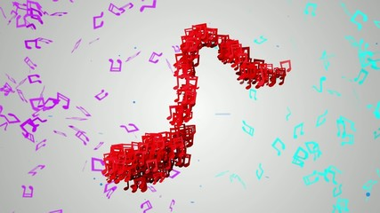 Red Musical Note Particles Loop Animation VJ