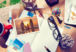 Постер, плакат: Desk with Summer Photographs and Notebook