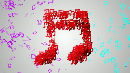 Red Musical Note Particles Loop Animation