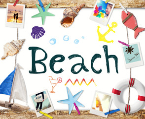 Beach Word on Whiteboard with Summer Objects and Photos
