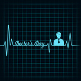 Heartbeat make doctors day text and symbol stock vector
