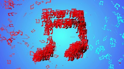Red Musical Note Particles  blue background Loop Animation