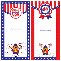 American Independence day template card sets
