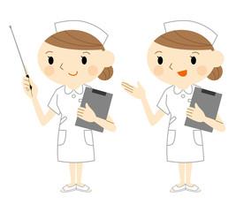 指示棒を持つ看護士