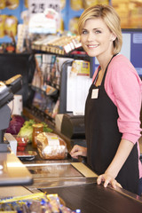 Supermarket checkout worker