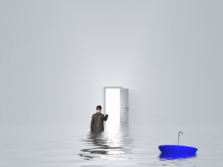 Man with umbrella in pure white room
