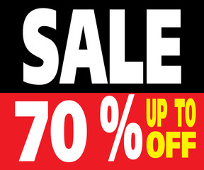 Sale up to 70 Percents Promotion Label
