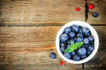 blueberries in the white bowl