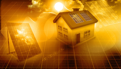 3d render of a house with solar panels.