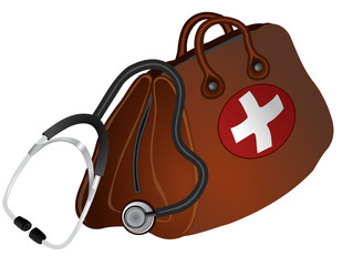 Vector format of brown doctors bag with cross and stethoscope