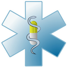 Vector format of medical symbol with capsule and snake