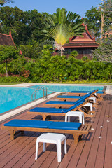 Swimming pool in garden, Thailand