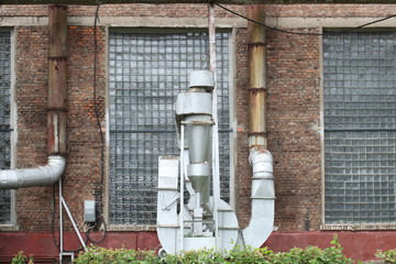 plant ventilation system on the outer wall of the factory