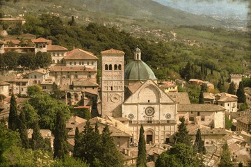 Saint Rufino Cathedral in Assisi, Italy - Vintage