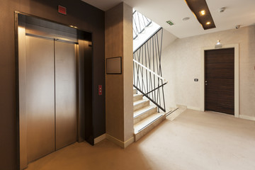 Interior of a corridor with passenger lift