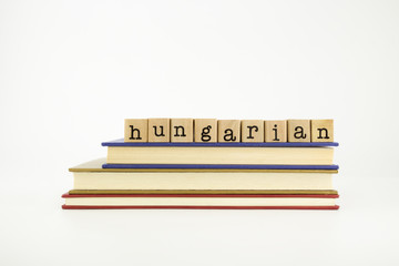 hungarian language word on wood stamps and books