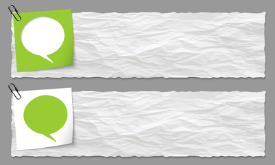 set of two banners with crumpled paper and speech bubble
