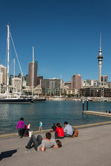 tourists in Auckland marina