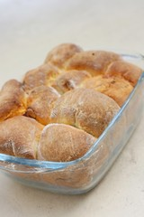 Just baked sweet rolls or sweet buns with marmalade