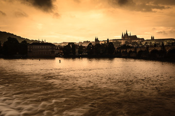 Vltava river and a Prague Castle Czech Republic .