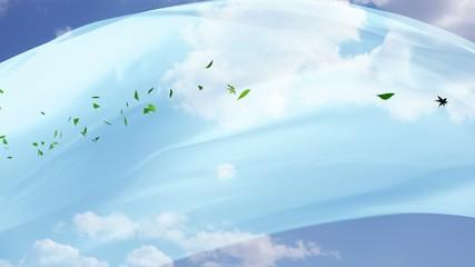 揺れる布と風で飛ぶ葉っぱ