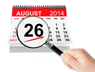 Women's Equality Day Concept. 26 August 2014 calendar with magni