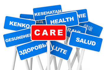 Health Care multilanguages banner signs