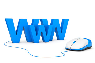 Internet Concept. WWW sign connected to computer mouse