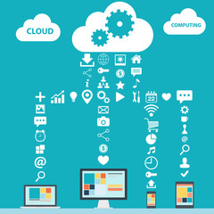 Cloud Computing color vector illustration for web design.