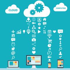 Cloud Computing color vector illustration for web design.
