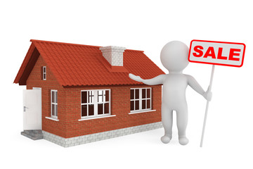 3d Person with Sale Banner and Brick House