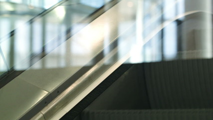Close-up shot of escalator going up