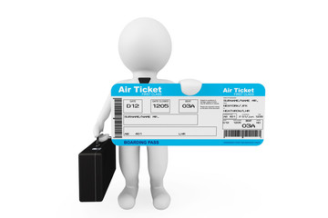 3d businessman hold Airline boarding pass ticket