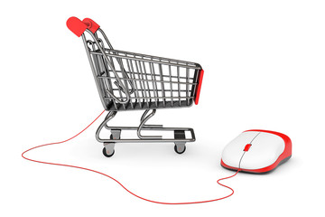 Online Shopping Concept. Shopping Cart connected to a Computer M