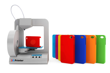 Technology concept. Modern Home 3d printer print Multicolour Mob