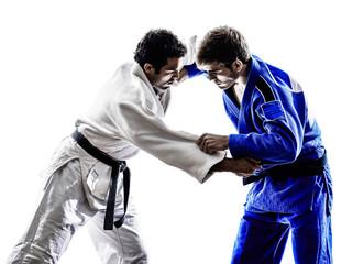 judokas fighters fighting men silhouette