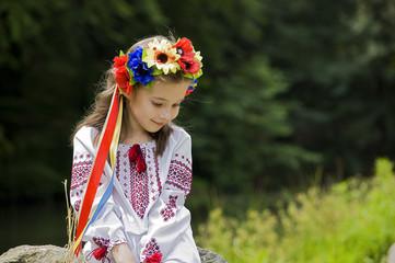 girl in ukrainian national costume posing