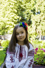 girl in ukrainian national costume posing